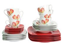 juego vajilla piezas tulipanes rojo attimo