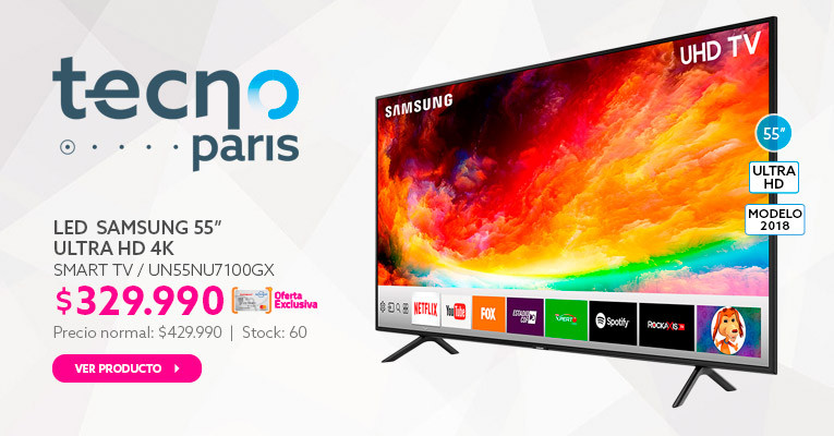 LED 55 Samsung Smart TV Ultra HD 4K a $329.990